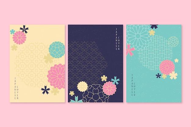Japanse covercollectie met bloesembloemen Premium Vector