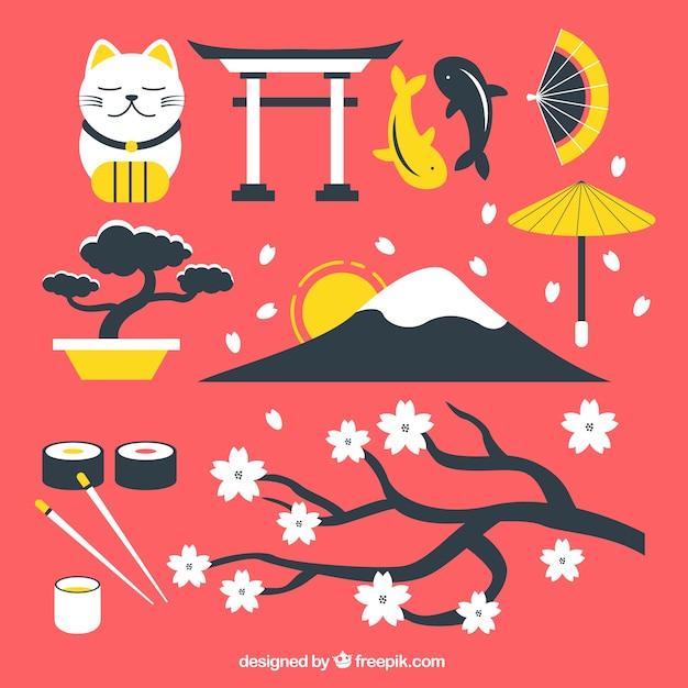 Japanse cultuur elementen Gratis Vector