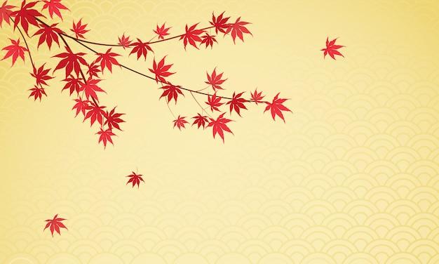 Japanse esdoorn bladeren achtergrond Premium Vector