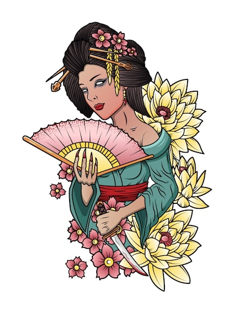 Japanse geisha met een mes in zijn hand Premium Vector