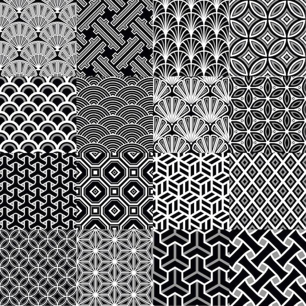 Japanse geometrische naadloze patten Gratis Vector