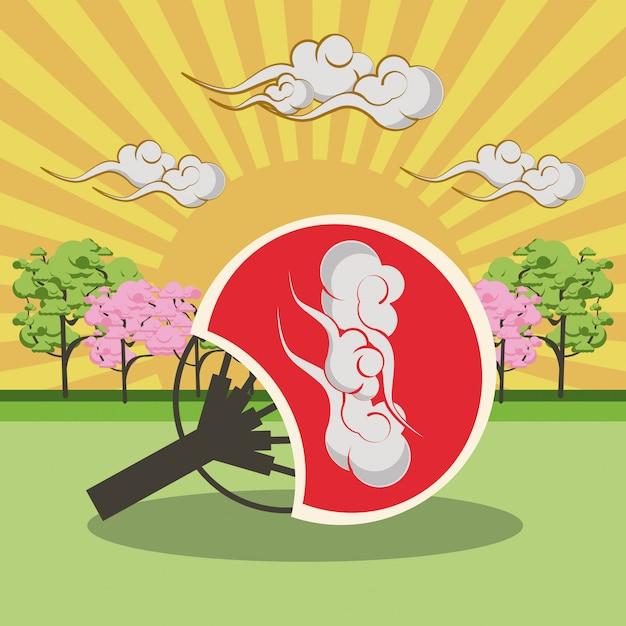 Japanse handventilator in landschap Premium Vector