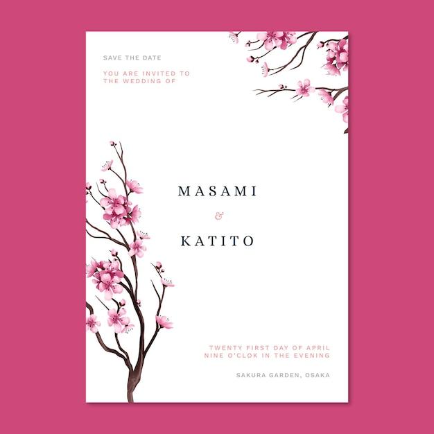 Japanse huwelijksuitnodiging met kersenbloesems Gratis Vector