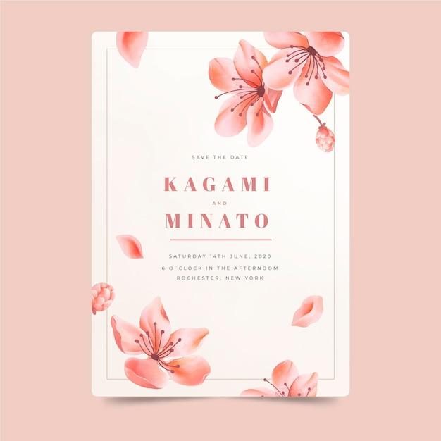 Japanse huwelijksuitnodiging met vallende bloemen Gratis Vector