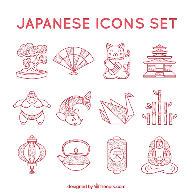 Japanse iconen collectie Gratis Vector