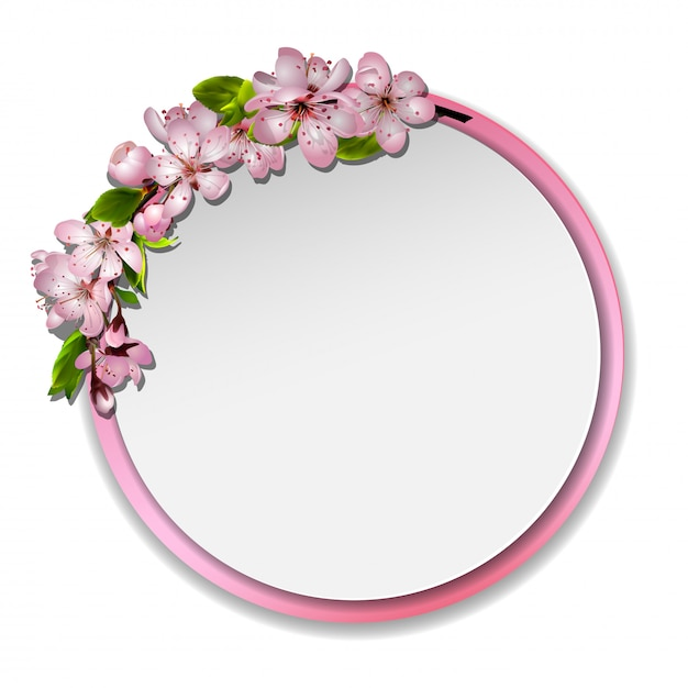 Japanse kersenbloesem spiegel Premium Vector