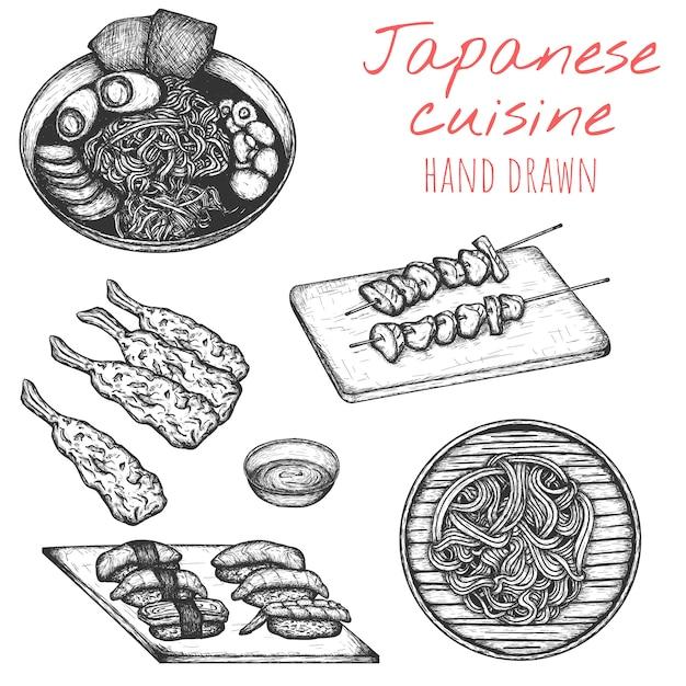 Japanse keuken hand getekende set, getekende japanse schotelillustraties. Premium Vector