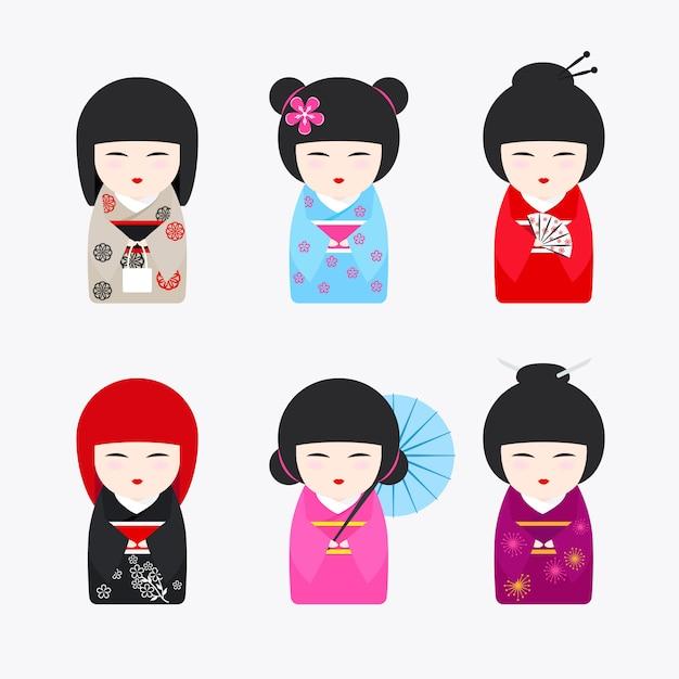 Japanse kokeshi-poppenpictogrammen Premium Vector