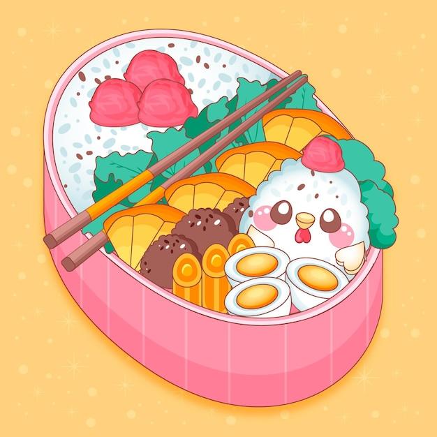 Japanse lunchbox gevuld met voedsel kawaii design Gratis Vector