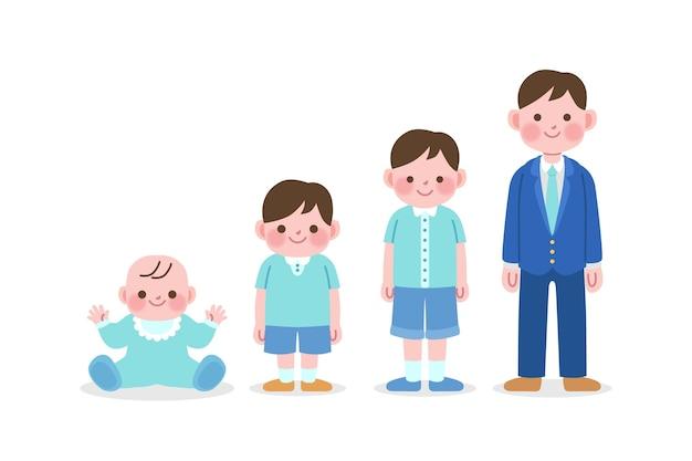 Japanse man in verschillende leeftijden Gratis Vector