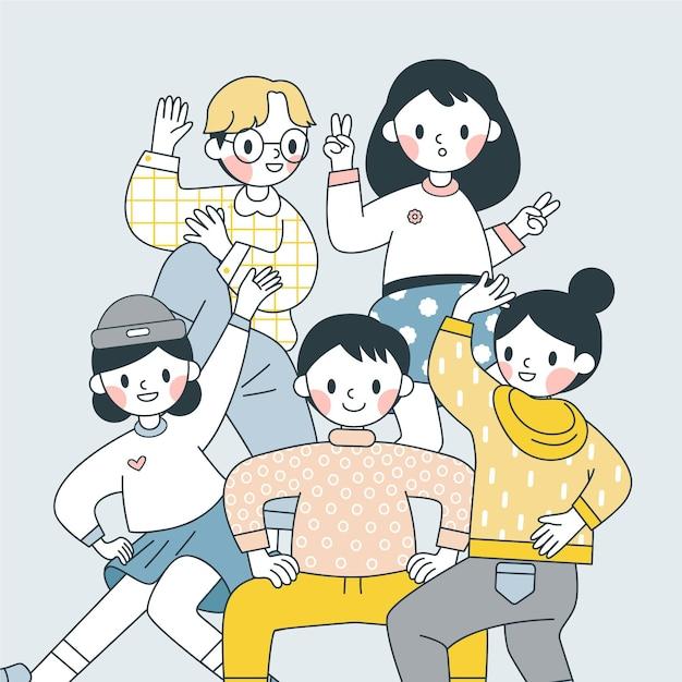Japanse mensen die grappige poses maken Gratis Vector