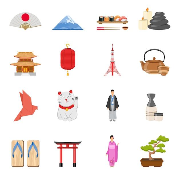 Japanse nationale symbolen vlakke pictogrammen instellen Gratis Vector