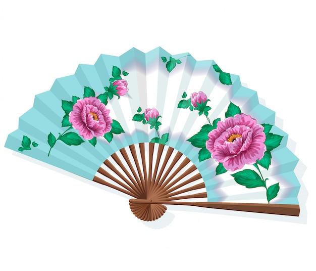 Japanse opvouwbare papieren sansu-waaier met roze pioenrozen. Premium Vector