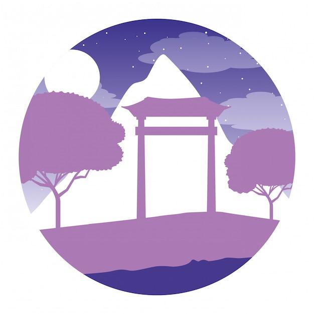 Japanse poort berg bomen nacht maan Premium Vector