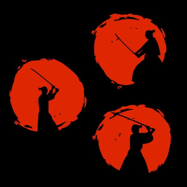 Japanse samurai warriors silhouette. vector illustratie Premium Vector