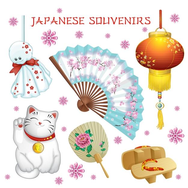 Japanse souvenirs: ventilator, zaklamp, teru-teru-bodzu, geta, kat. Premium Vector