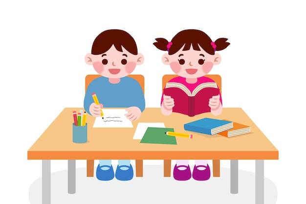 Japanse studentenkinderen studeren in de klas Gratis Vector