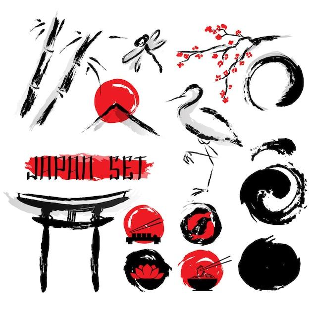 Japanse sumie inkt schilderij icons set Gratis Vector