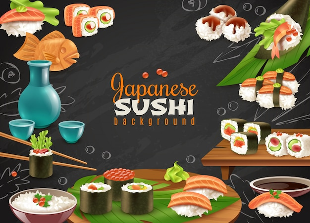 Japanse sushi achtergrond Gratis Vector