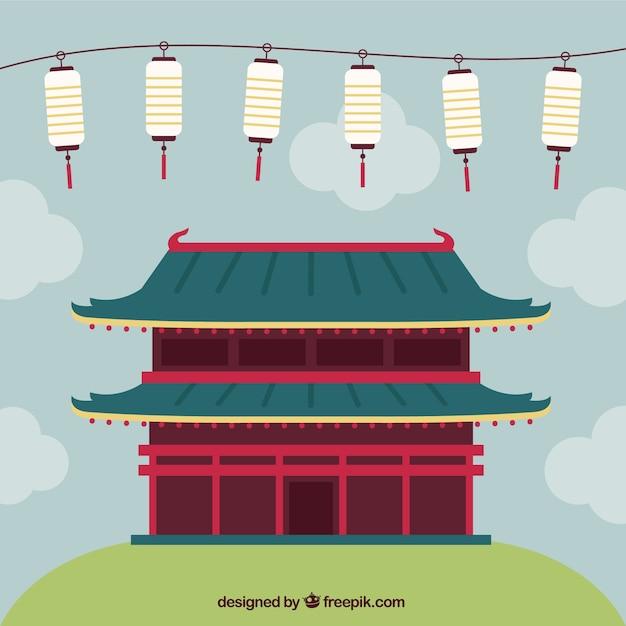 Japanse tempel Gratis Vector