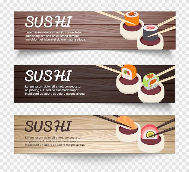 Japanse voedsel horizontale banners Gratis Vector