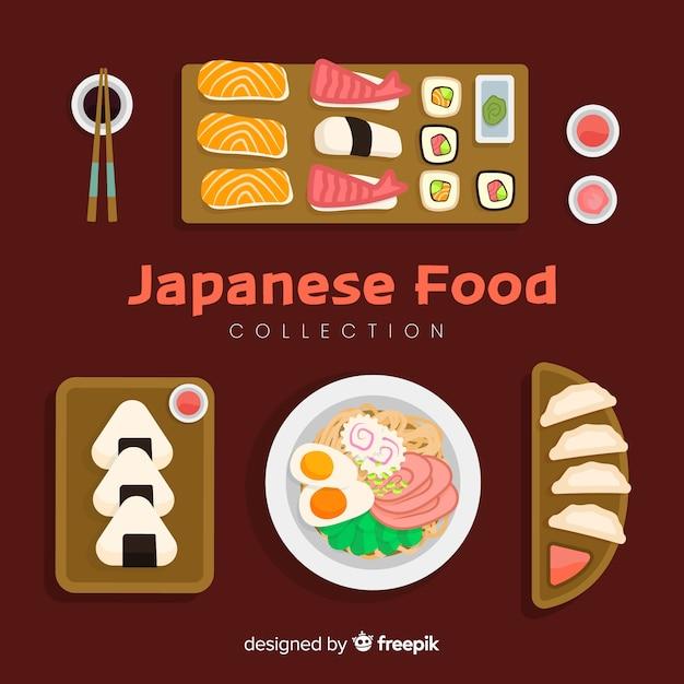 Japanse voedselcollectie Gratis Vector