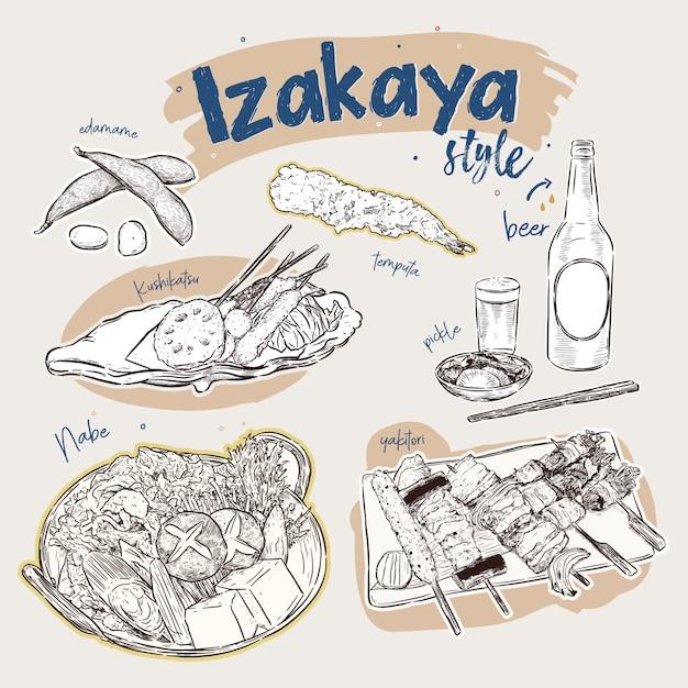 Japanse voedselelementen, izakaya-stijl. snack bar. hand tekenen schets vector. Premium Vector