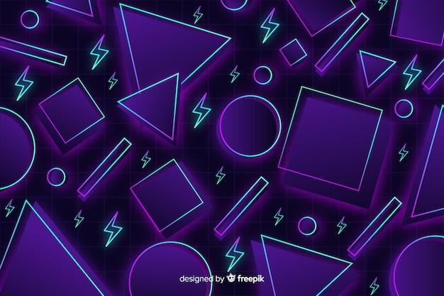 Jaren 80 geometrische kleurrijke decoratieve achtergrond Gratis Vector