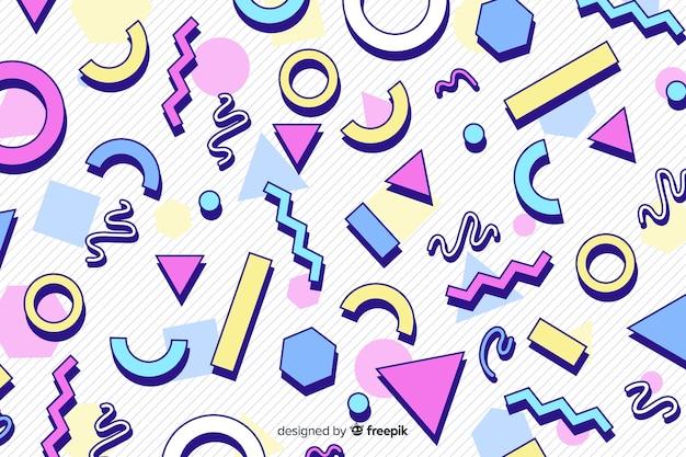 Jaren 80 kleurrijke geometrische achtergrondstijl Gratis Vector