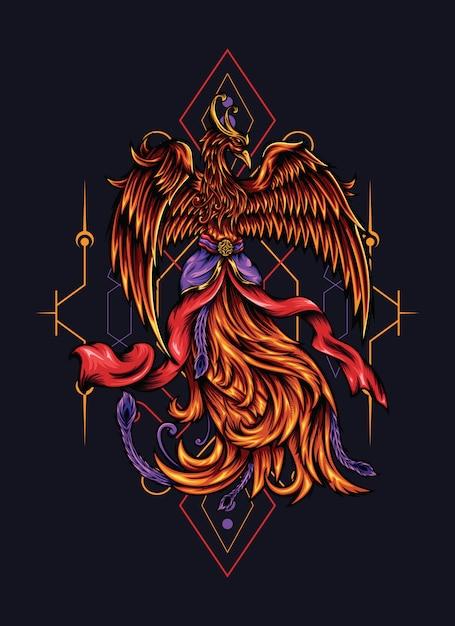 Java phoenix illustratie Premium Vector