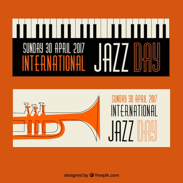 jazz banners in retro stijl Gratis Vector