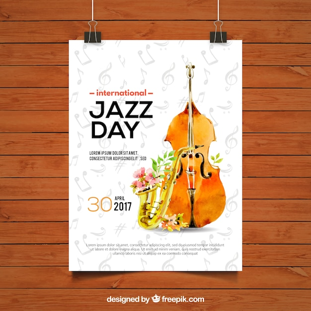 Jazz dag brochure met viool en waterverf saxofoon Gratis Vector