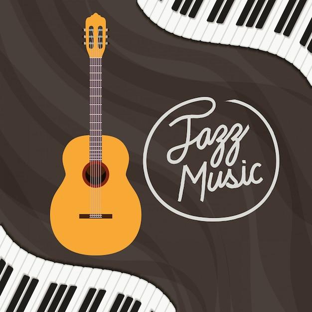Jazz dag poster met piano klavier en akoestische gitaar Premium Vector