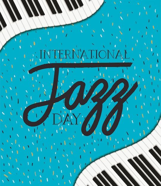 Jazz dag poster met piano klavier Premium Vector