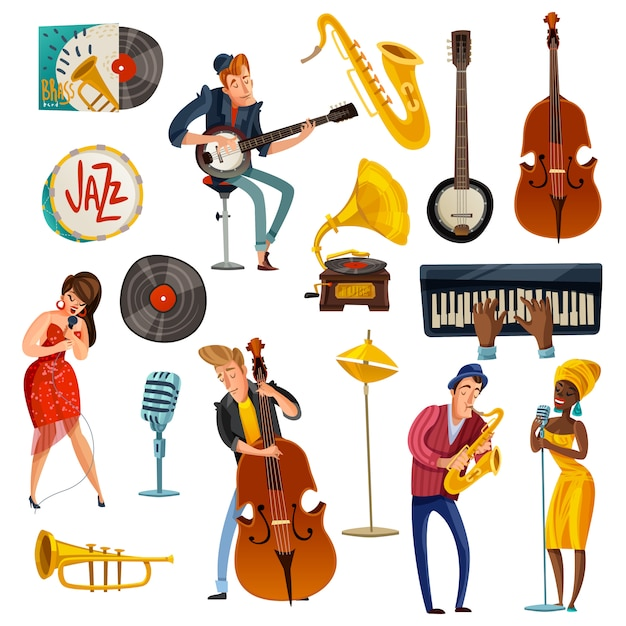 Jazz muziek cartoon set Gratis Vector