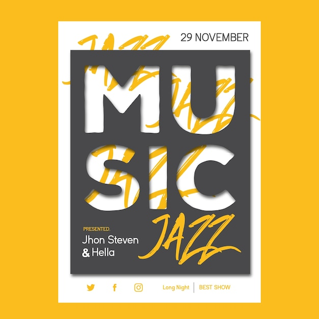 Jazz muziek Premium Vector