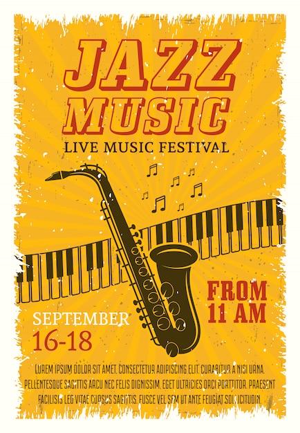 Jazz muziekfestival poster Gratis Vector