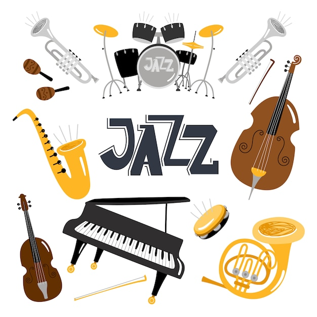 Jazz muziekinstrumenten. Premium Vector