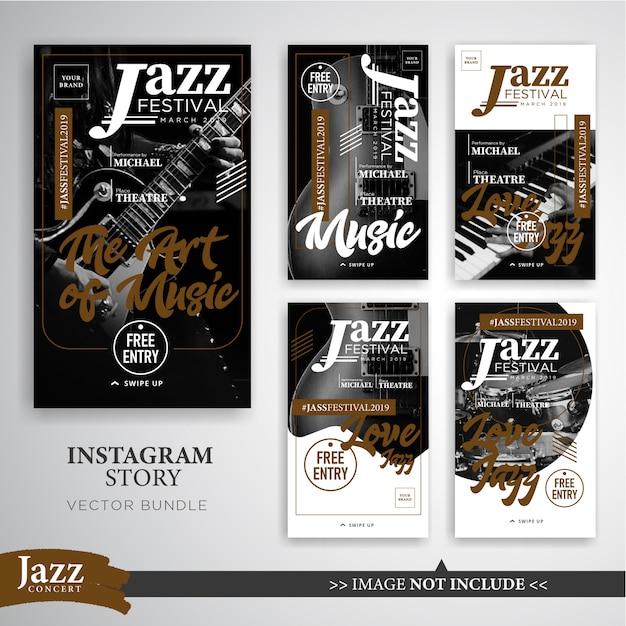 Jazz of muziek festival instagram verhalen banner sjabloon Premium Vector