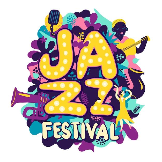 Jazzfestival compositie Gratis Vector
