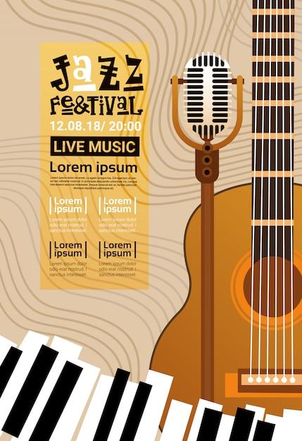 Jazzfestival live muziekconcert poster advertentie retrobanner Premium Vector
