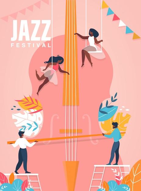 Jazzfestival poster. mensen die op reusachtige celloillustratie spelen Premium Vector