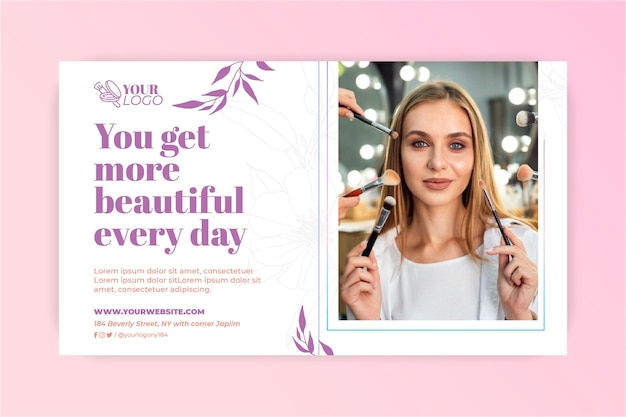 Je bent een prachtige make-up banner Gratis Vector