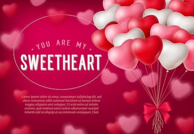Je bent mijn geliefde belettering, stelletje hartvormige ballonnen Gratis Vector