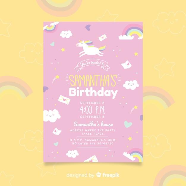 Je bent uitgenodigd voor de flyer-sjabloon voor verjaardagsfeestjes Gratis Vector