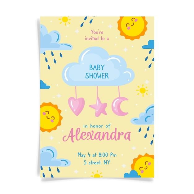 Je bent uitgenodigd voor een babyshower voor meisje met zon en wolken Gratis Vector
