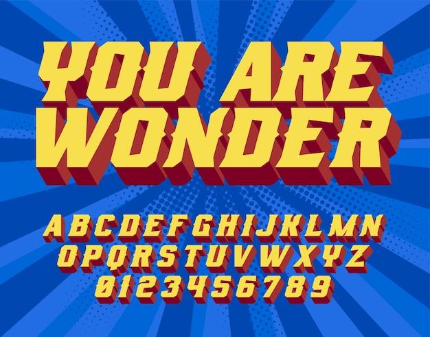 Je bent wonder - handschrift. komische stijl. retro lettertype en grafische stijl. 3d vintage alfabetletters. Premium Vector