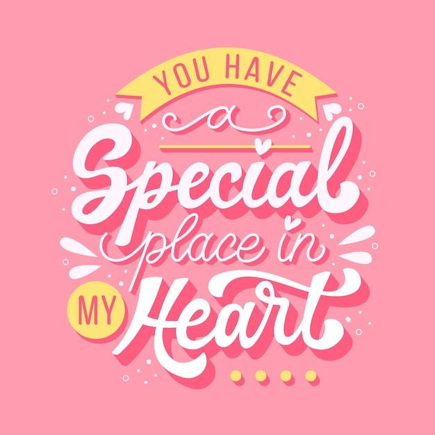 Je hebt een speciaal plekje in mijn hart-letters Gratis Vector