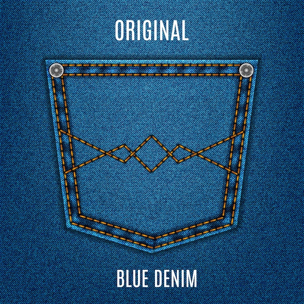 Jeans textuur blauwe kleur met zak, denim Premium Vector