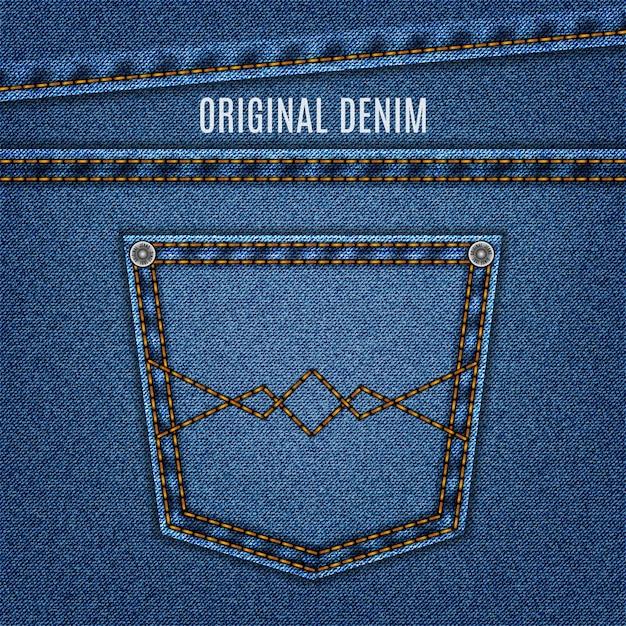 Jeans textuur blauwe kleur met zak en steek. denim . Premium Vector